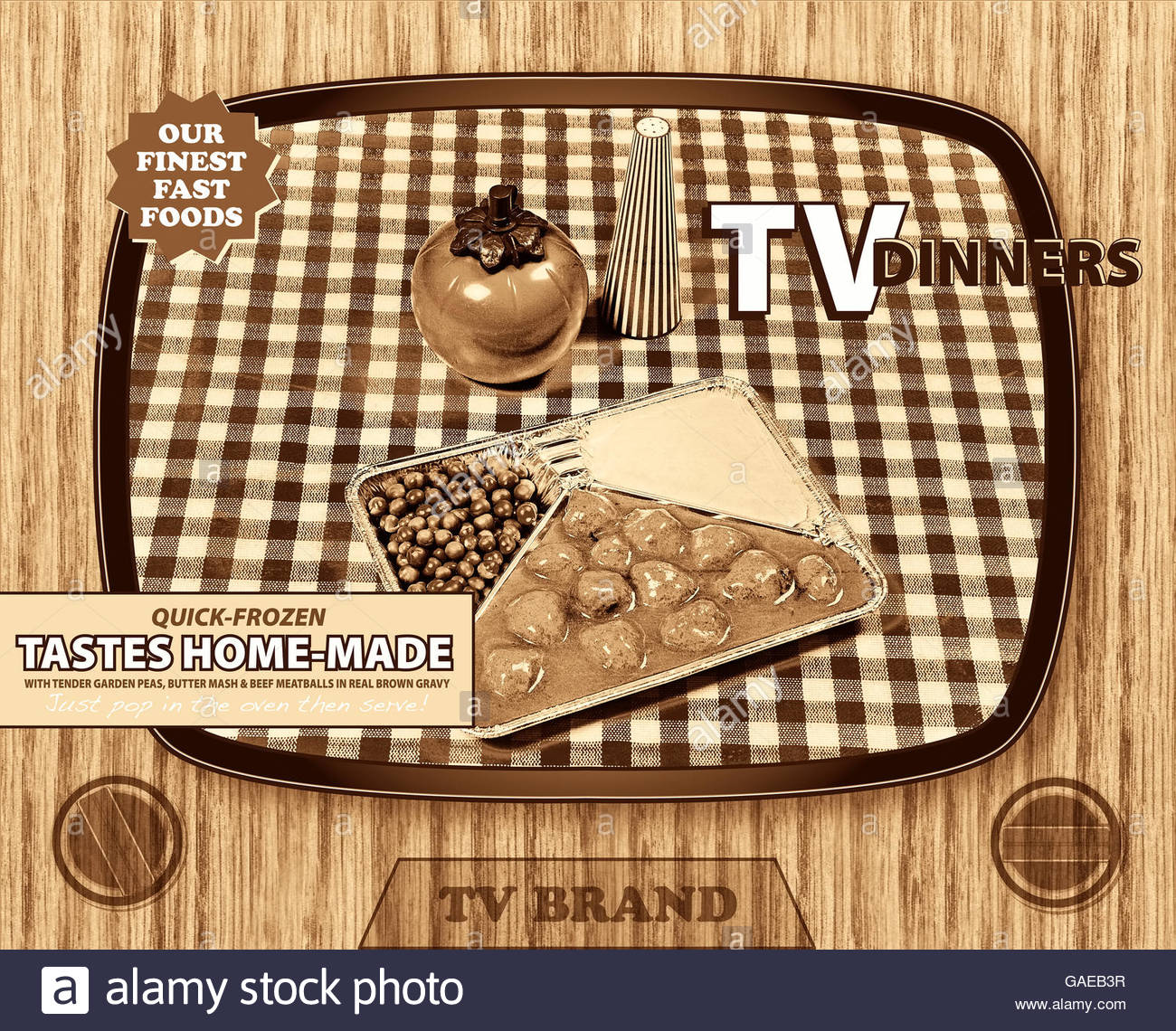 TV dinner tray vintage retro meal aluminum food dish packaging style Stock Photo