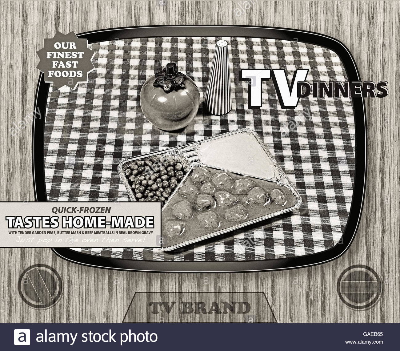 TV dinner tray vintage retro meal aluminum food dish packaging style - Stock Image