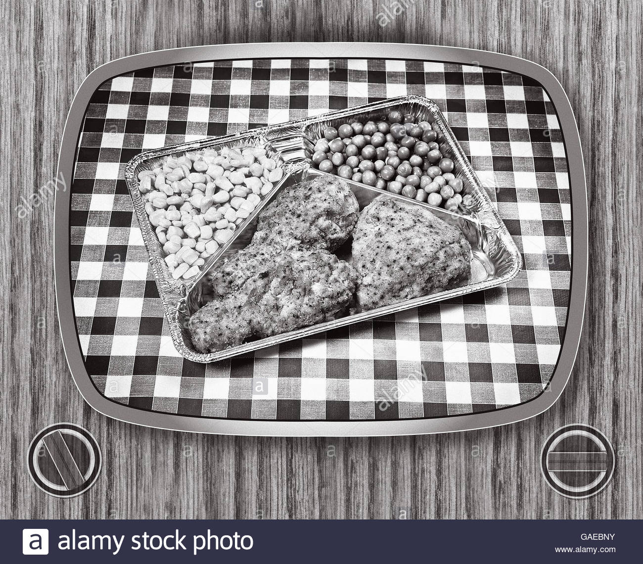 TV dinner tray vintage retro meal aluminum dish with surround - Stock Image