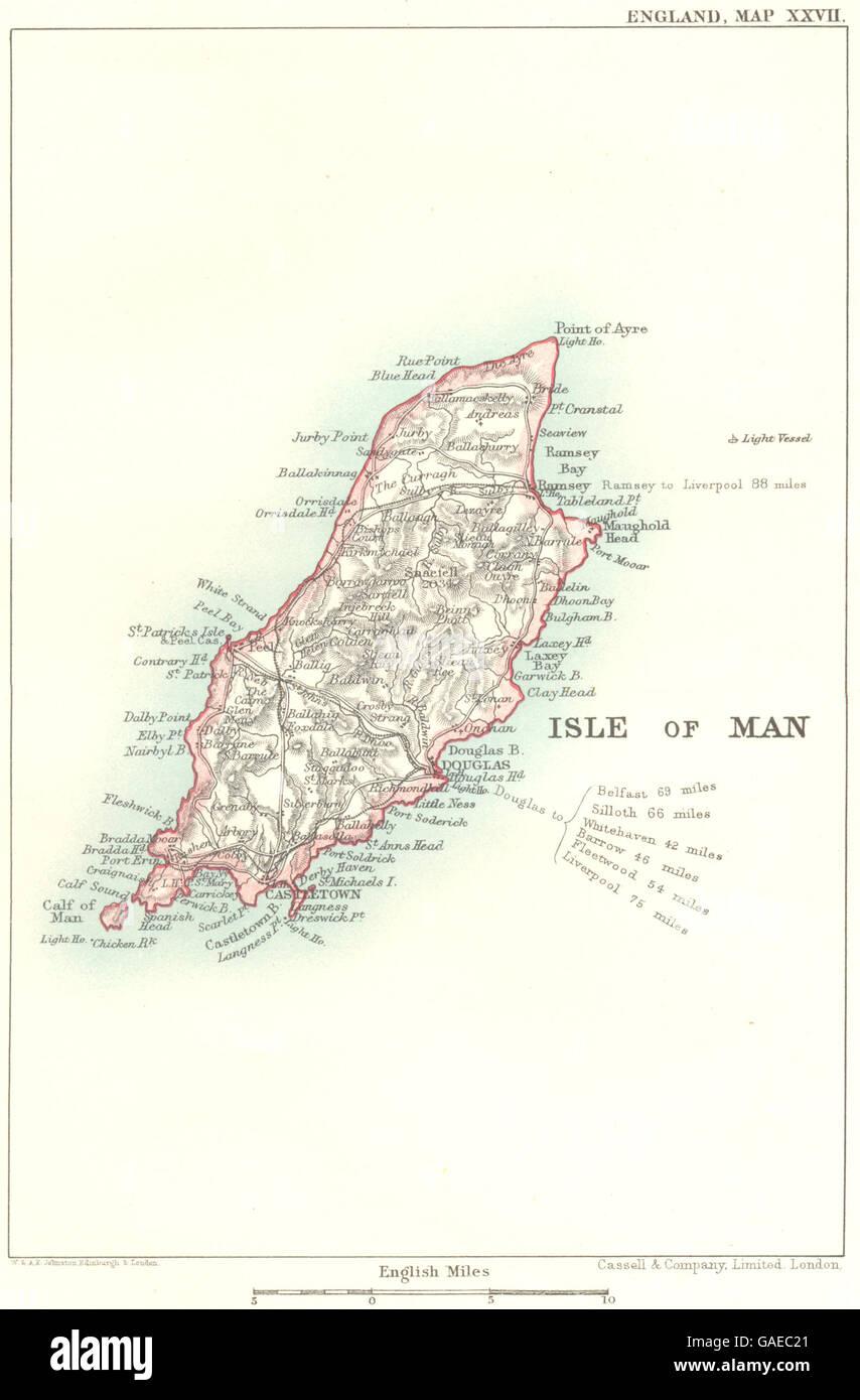 ISLE OF MAN: Ferry distances/lighthouse. Castletown Douglas Ramsey, 1893 map - Stock Image