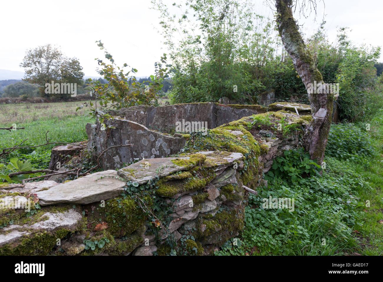 San Romao da Retorta, Spain: Primitive stone water catchment at a farm in the village. - Stock Image