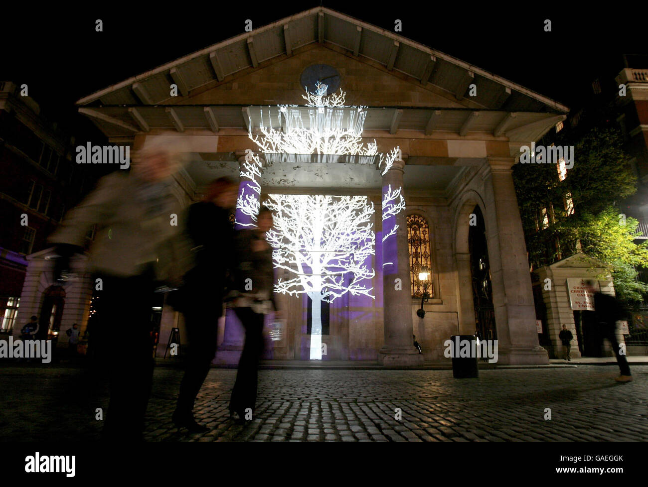 Covent Garden Christmas Lights Switch On London Stock Photo
