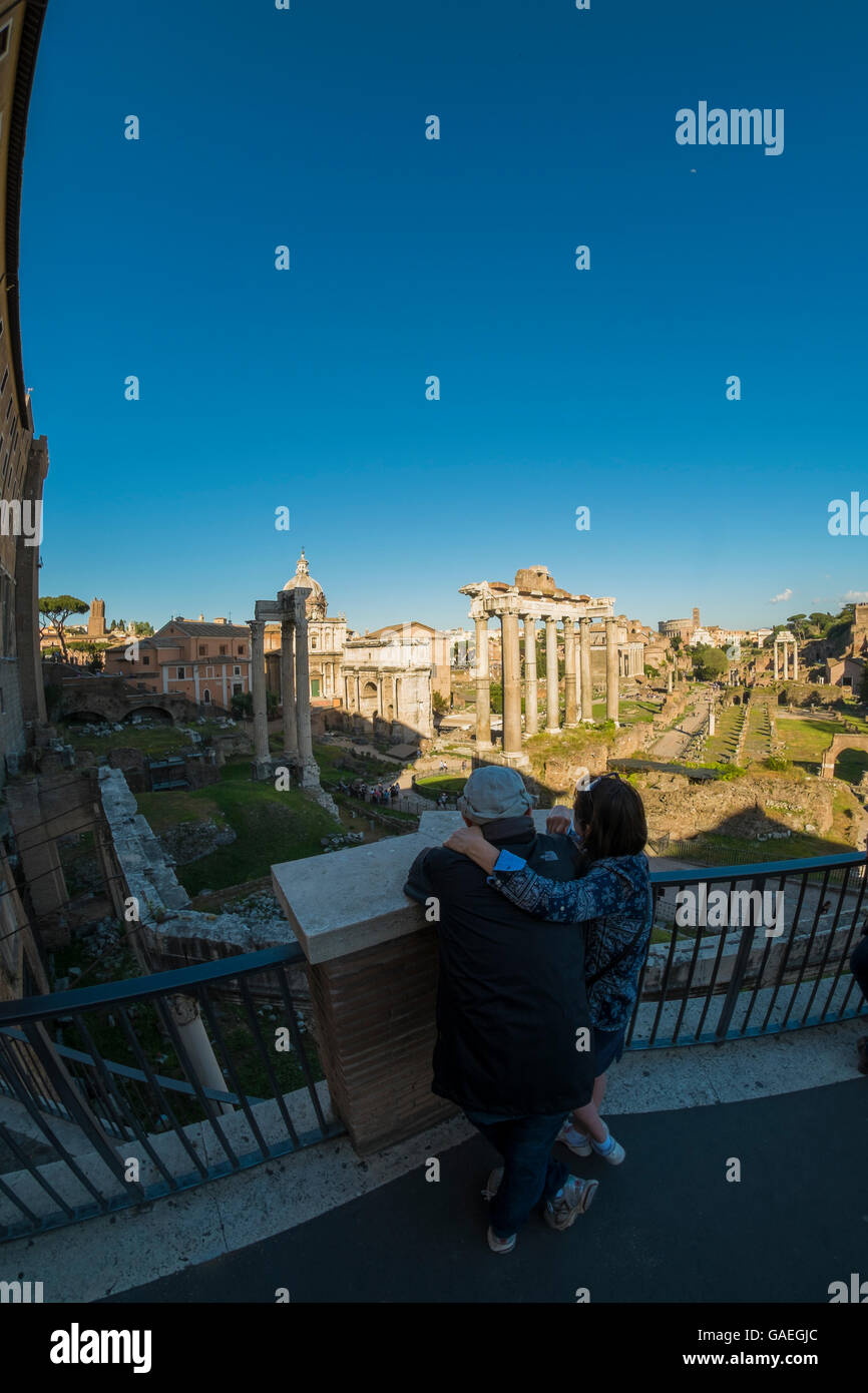 People looking at the Roman forum, Rome, Italy, Europe. - Stock Image