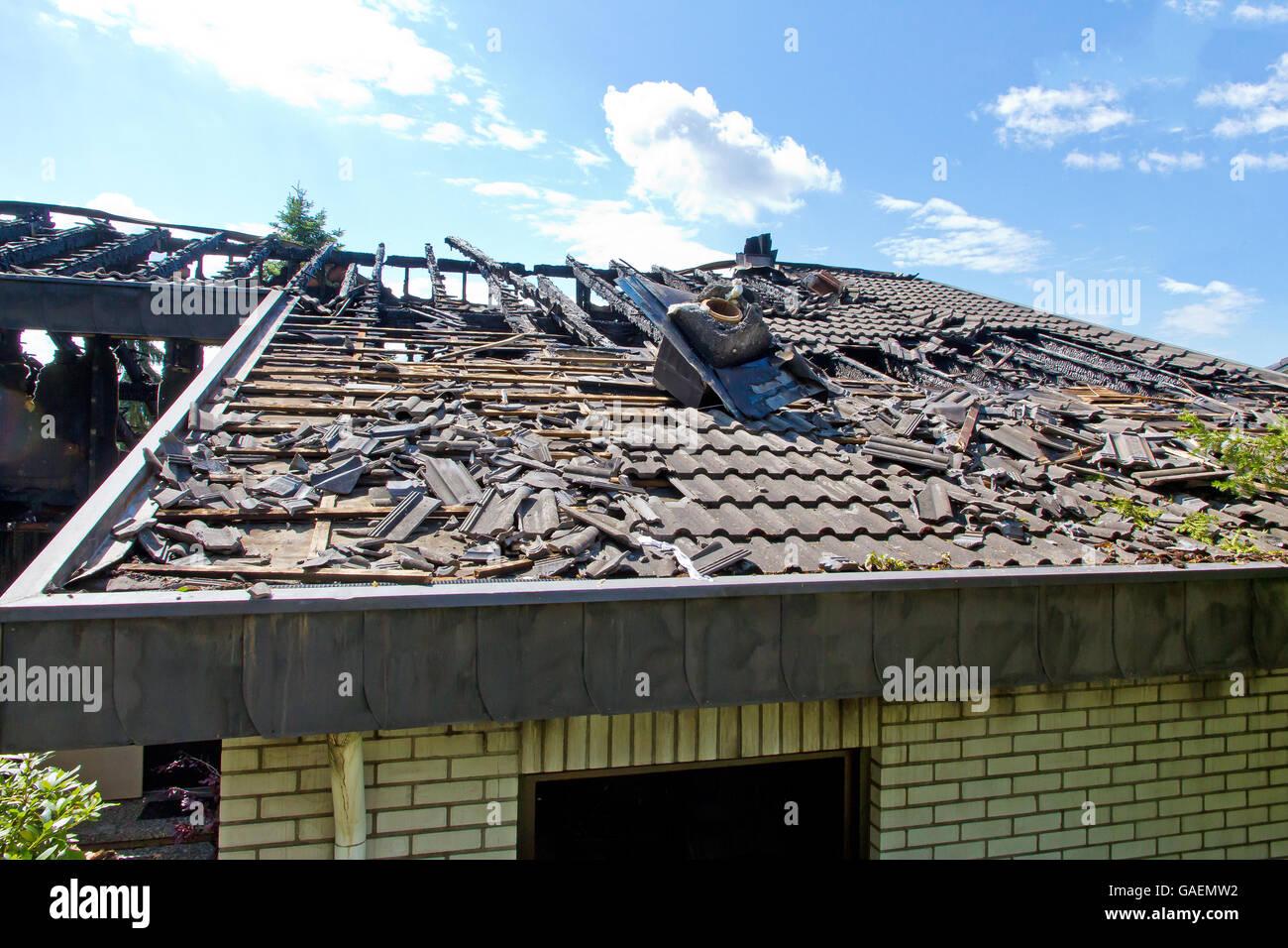 House burned after a lightning strike Stock Photo