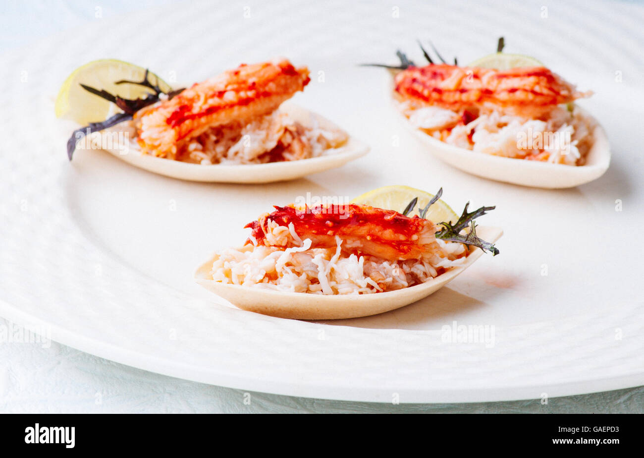 Elegant and delicious morsel of crab and ground for cocktail Stock Photo