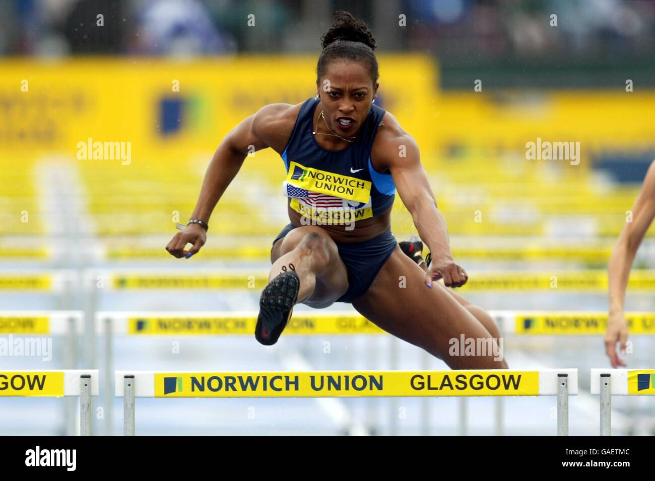 Athletics - Norwich Union Challenge - Great Britain v Russia v USA - Women's 100 Metre Hurdles - Stock Image