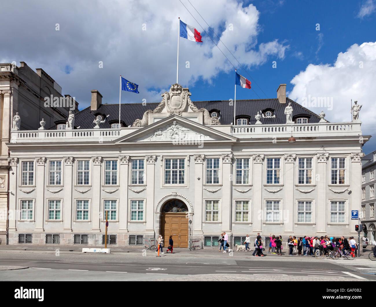 The French embassy at Kongens Nytorv in Copenhagen in the Thottske Palæ (the Thott Mansion) - Stock Image