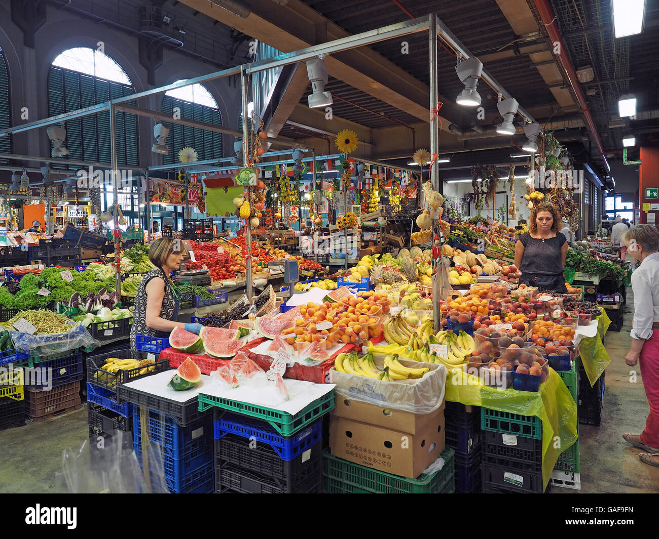 Interior view of a market stall inside the Mercato Centrale central market in the Italian city of Florence - Stock Image