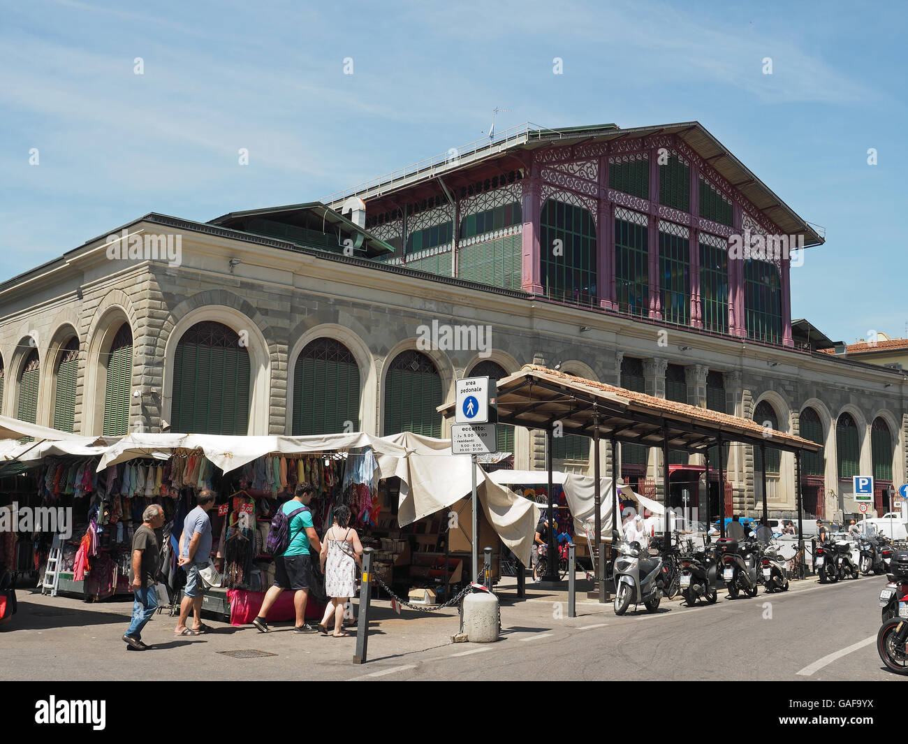 Exterior view of the Mercato Centrale central market from Plazza del Mercato Centrale in the Italian city of Florence - Stock Image
