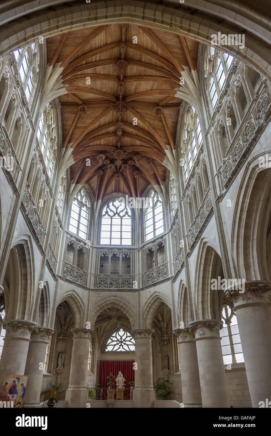 France, Normandy, Falaise, Trinity church interior Stock Photo