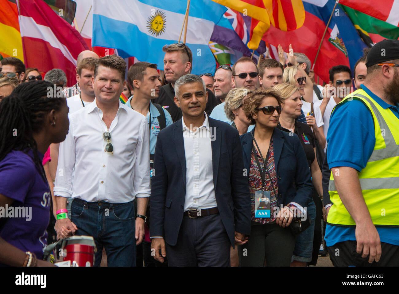 US Ambassador, Sadiq Khan (mayor of London) and his wife at Pride in London 2016 - Stock Image