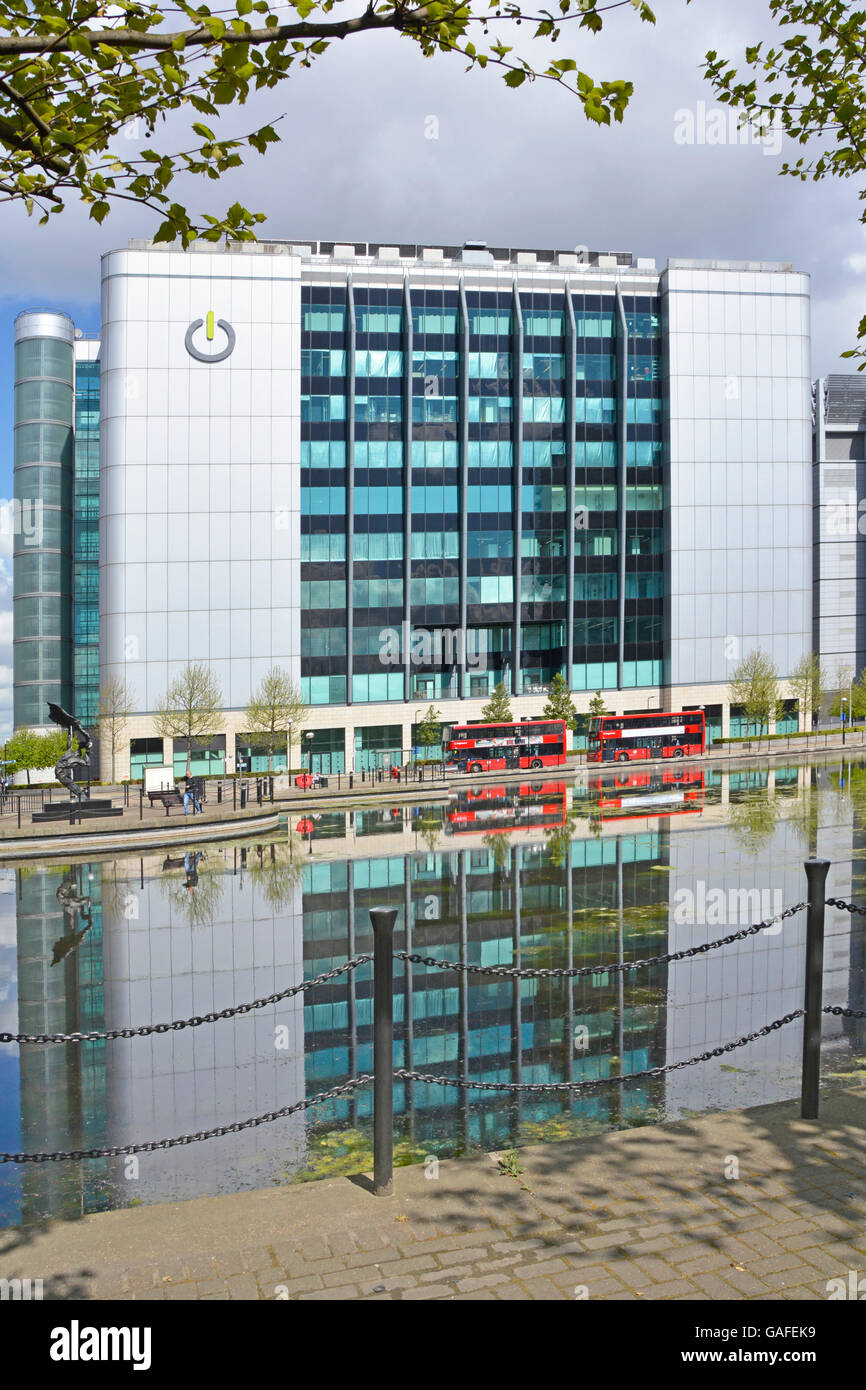 Global Switch data centre provider premises in East India Docks East London England UK with reflections in landscaped Stock Photo