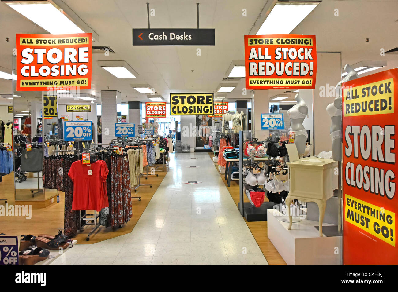 England UK interior BHS store placards for holding closing down sale prior to all UK British Home Stores shut down - Stock Image