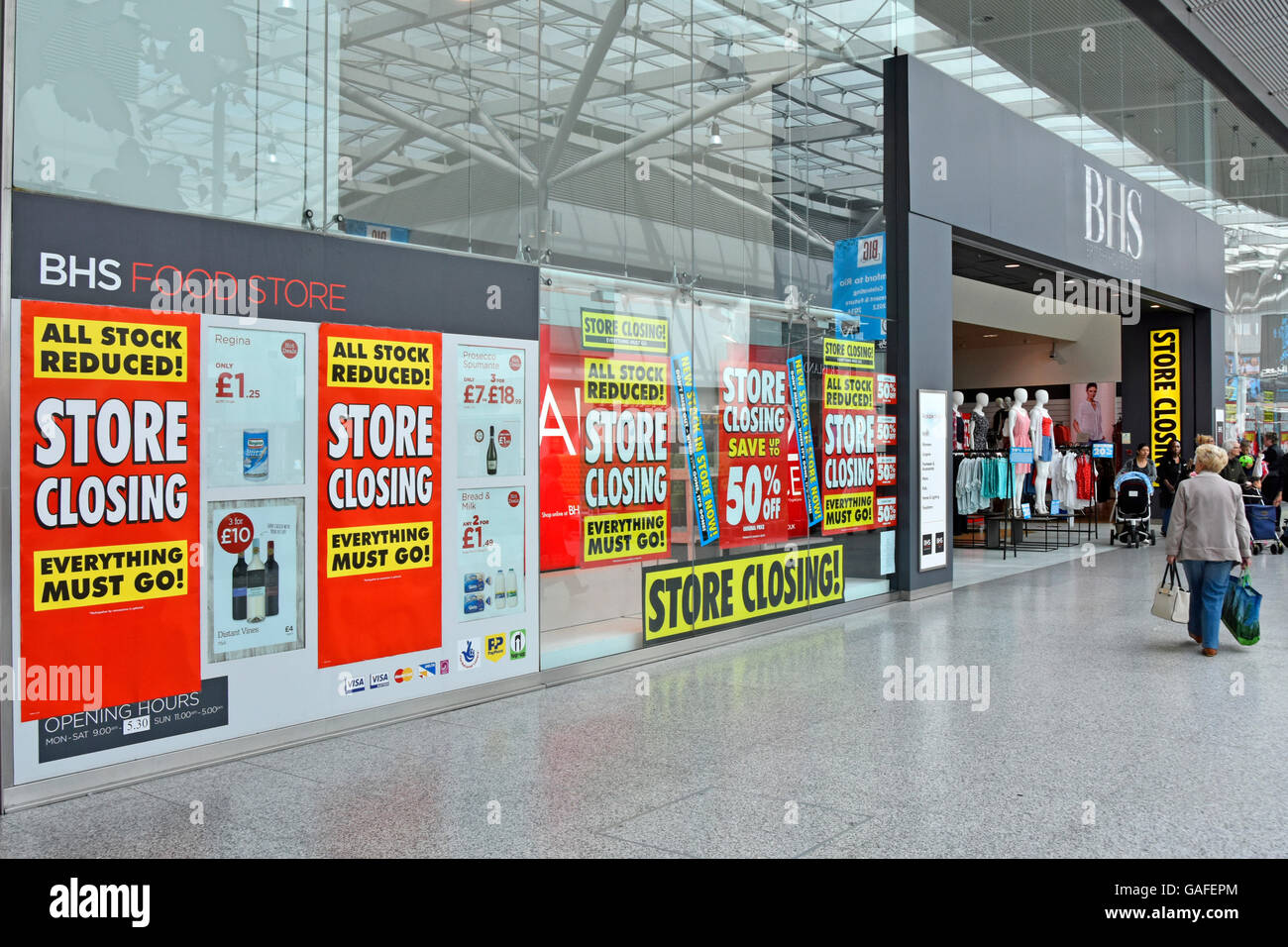 England UK BHS store in indoor shopping mall holding closing down sale prior to all UK British Home Stores shut - Stock Image
