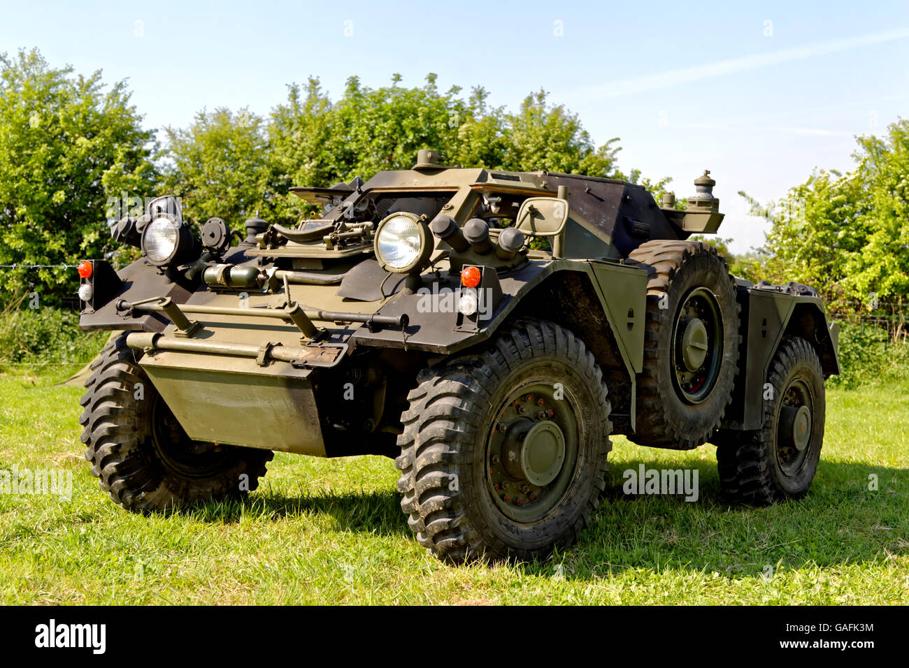 An ex British Army Ferret Armoured car at the 2011 Westbury Transport and Vintage Gathering, Bratton, Nr Westbury, - Stock Image