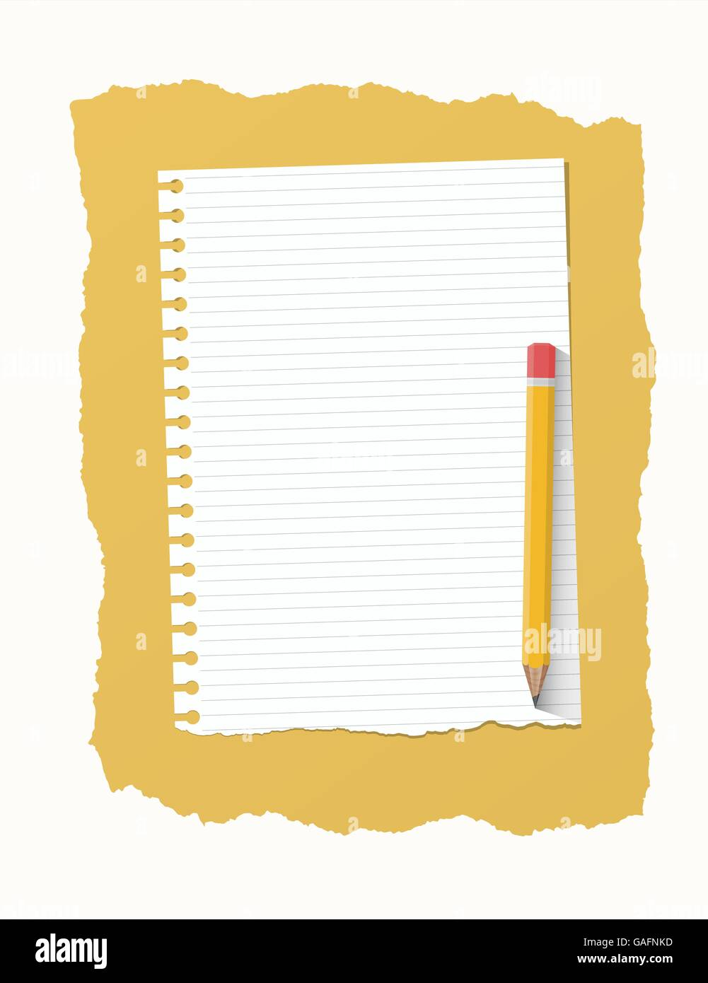 white ripped ruled notebook paper sheet are on yellow background