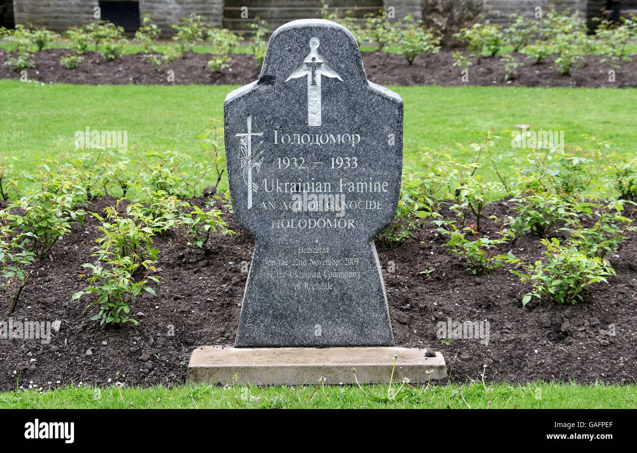 Ukranian Famine Memorial at Rochdale in Greater Manchester - Stock Image