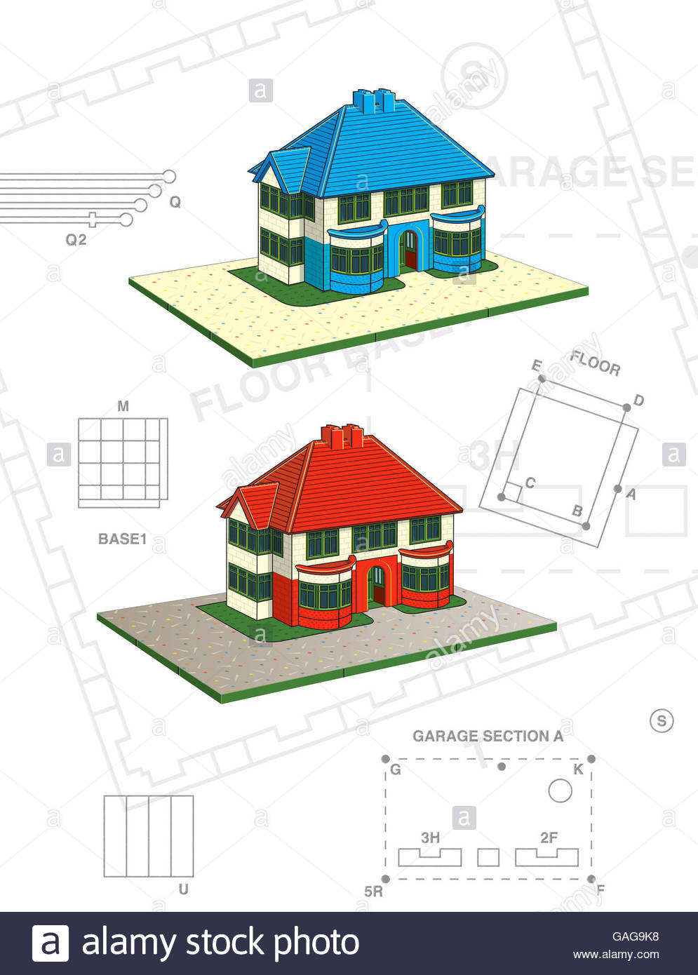 Vintage thirties house style construction kit toy scale model illustration - Stock Image