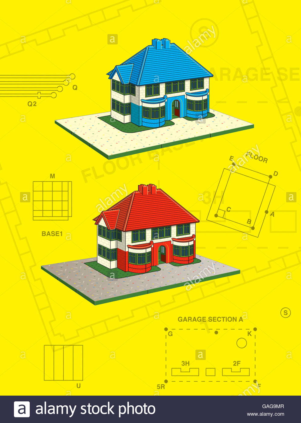 Vintage thirties house style construction kit toy scale model illustration Stock Photo