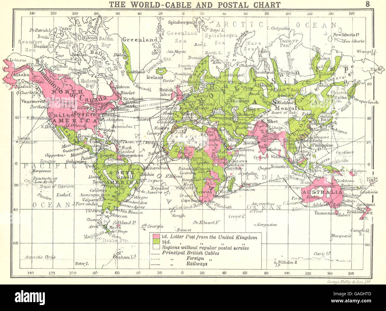 WORLD: The World-Cable and postal chart; Small map, 1912 - Stock Image