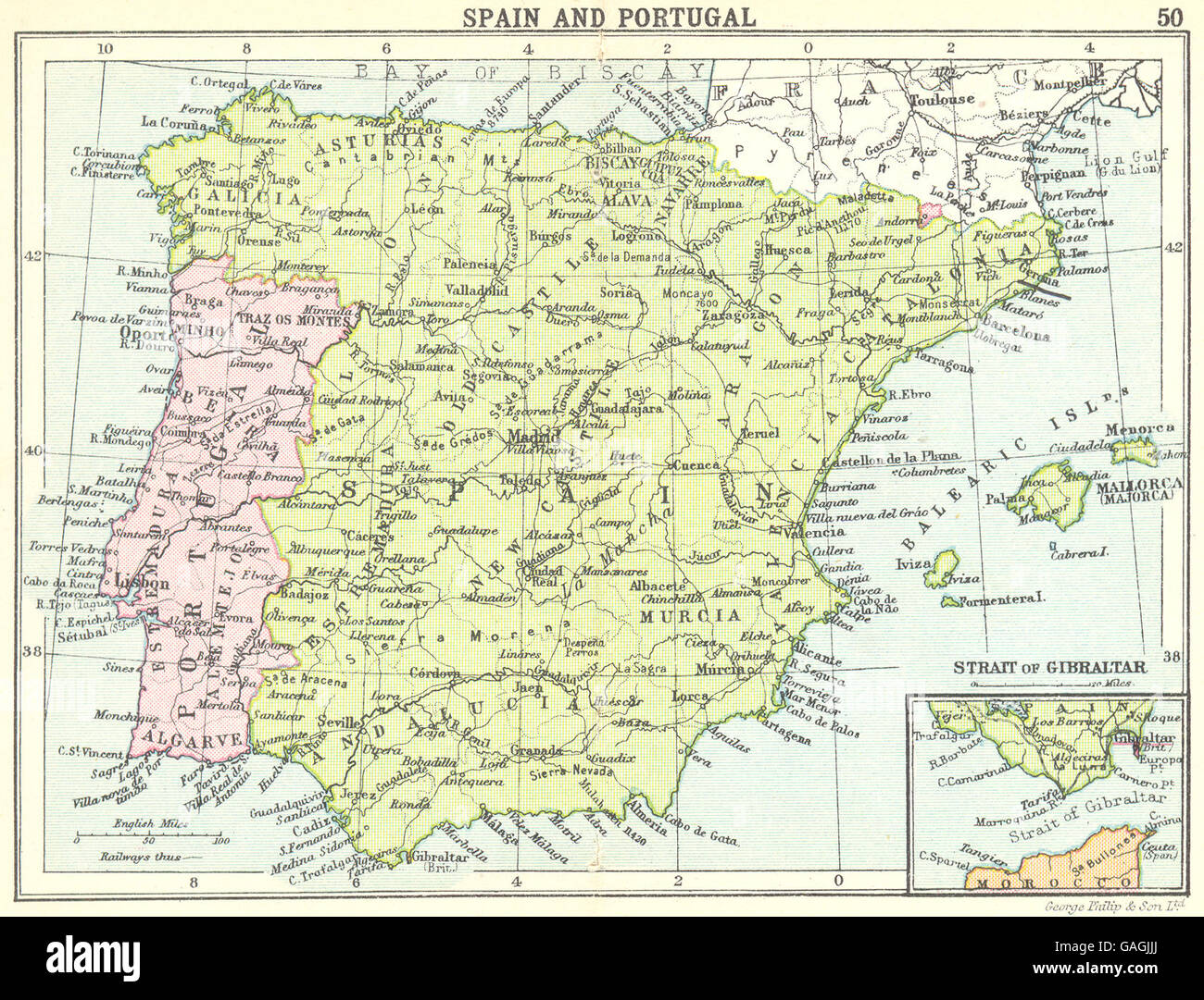 Small Map Of Spain.Spain Spain And Portugal Inset Map Of Strait Of Gibraltar Small