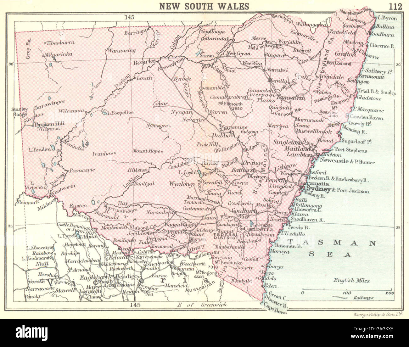 AUSTRALIA: New South Wales; Small map, 1912 - Stock Image