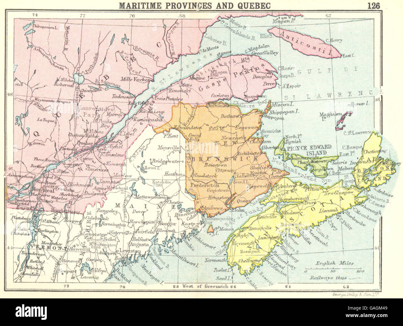 Canada Maritime Provinces And Quebec Small Map 1912 Stock