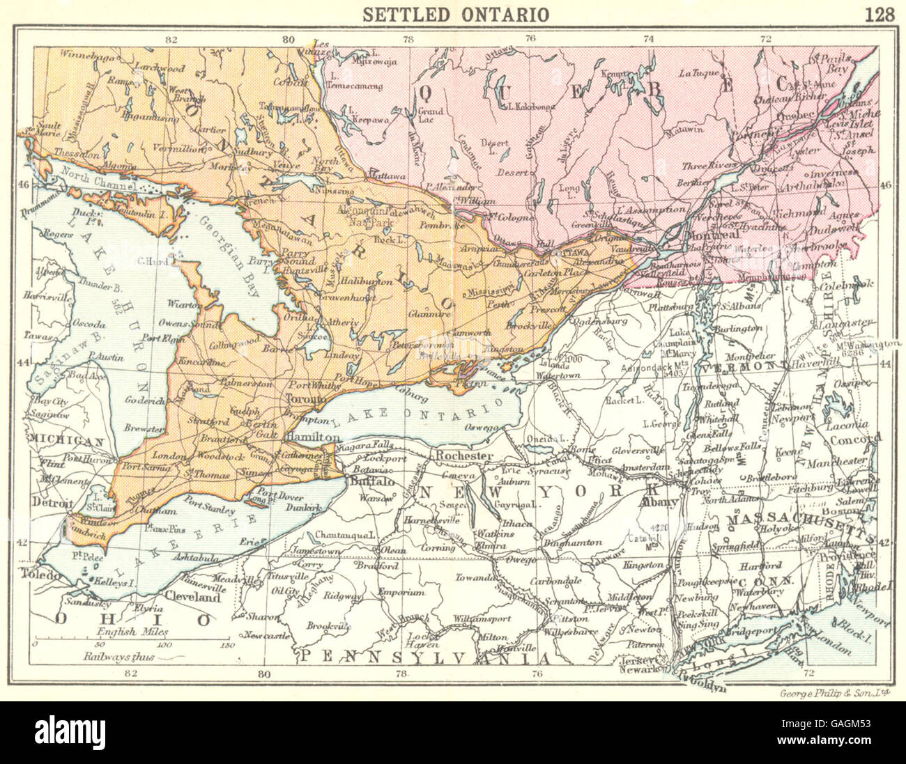 Small Map Of Canada.Canada Settled Ontario Small Map 1912 Stock Photo 109775823 Alamy