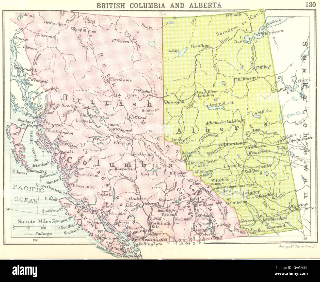 Small Map Of Canada.Canada British Columbia And Alberta Small Map 1912 Stock Photo
