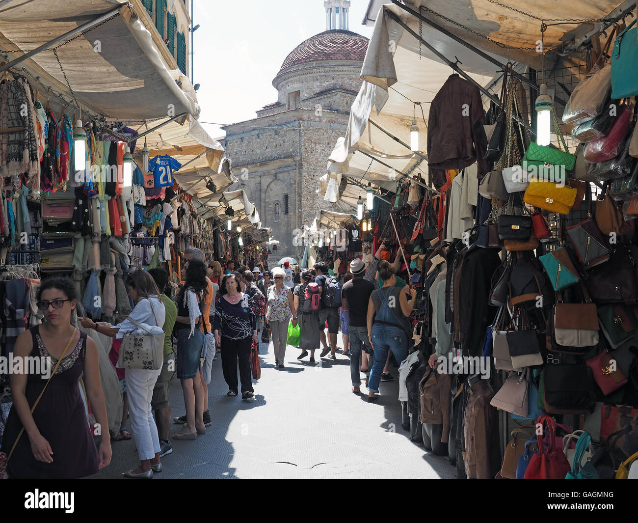 View of the busy Mercato San Lorenzo street market in Florence Italy - Stock Image
