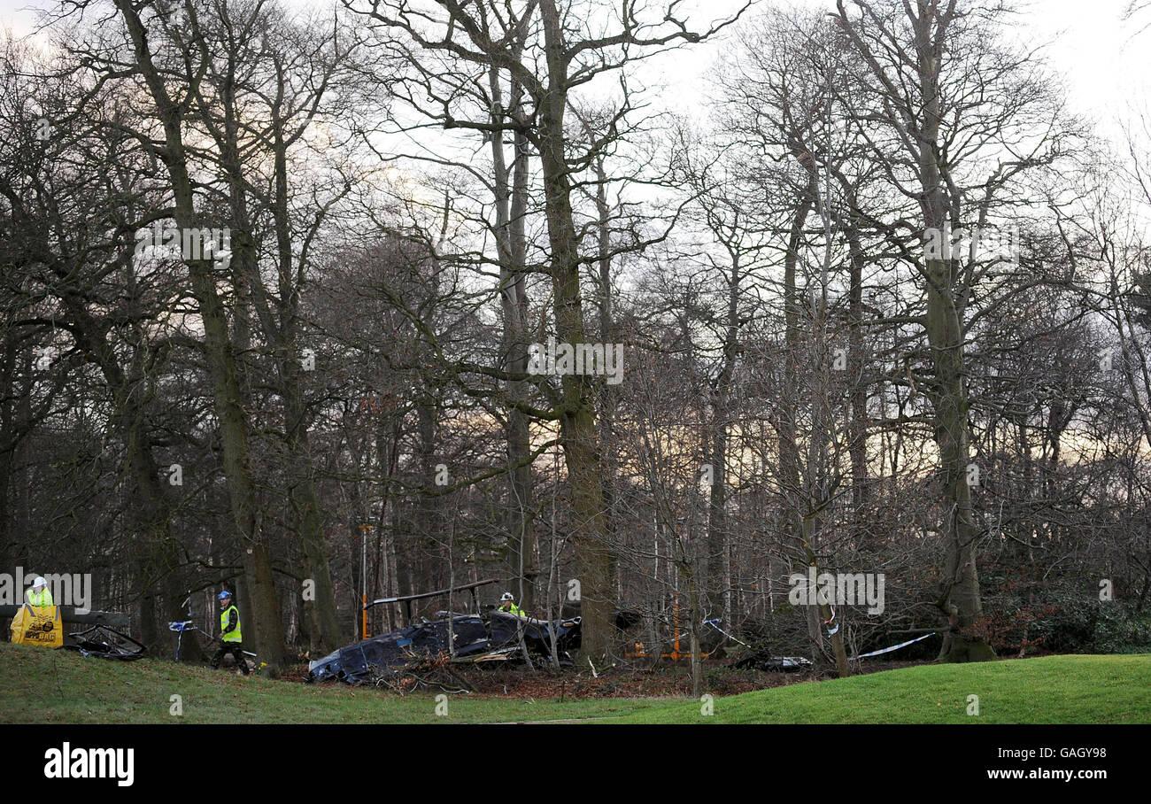 Helicopter crash Stock Photo