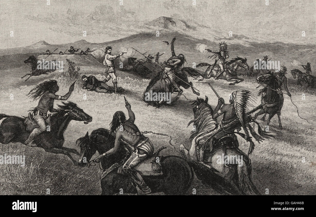 Rescuing a wounded comrade - Heroic Exploit of Amos Chapman during the Indian Wars - Stock Image