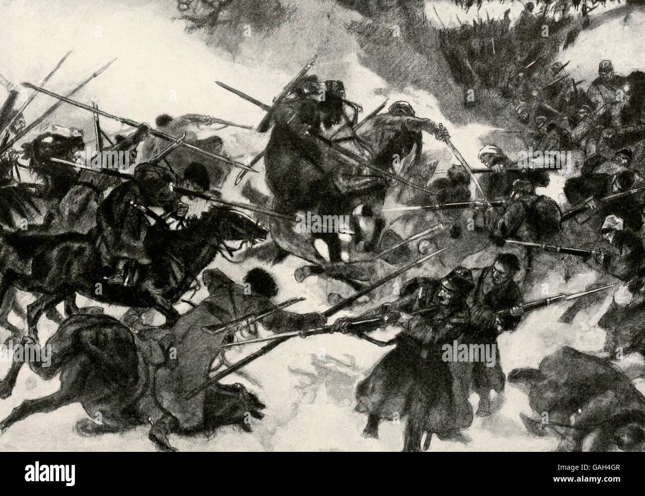Cossacks clash with Austrian Cavalry during World War I - Stock Image