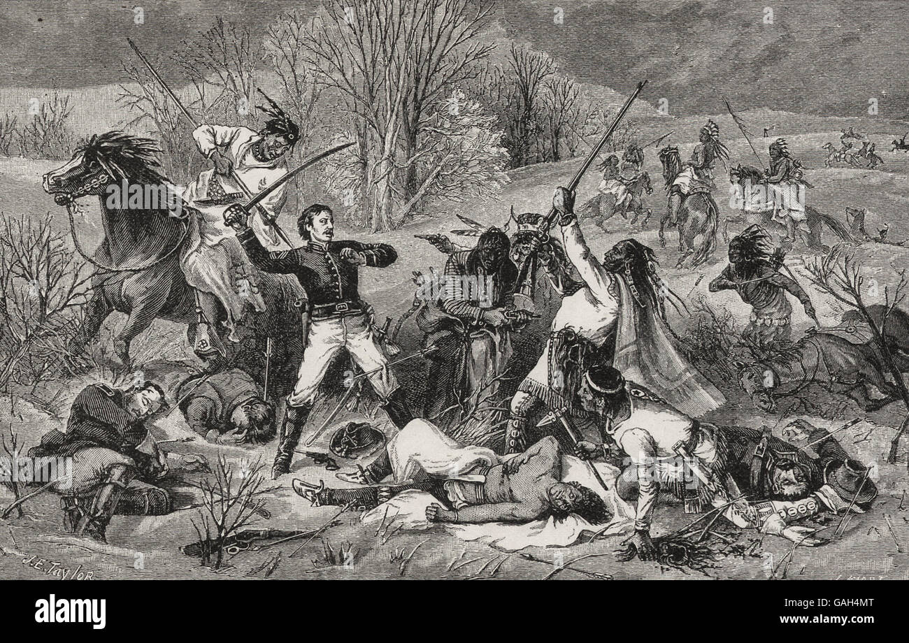 Heroism and death of Sergeant Major Kennedy at the Battle of Washita, 1868 - Stock Image