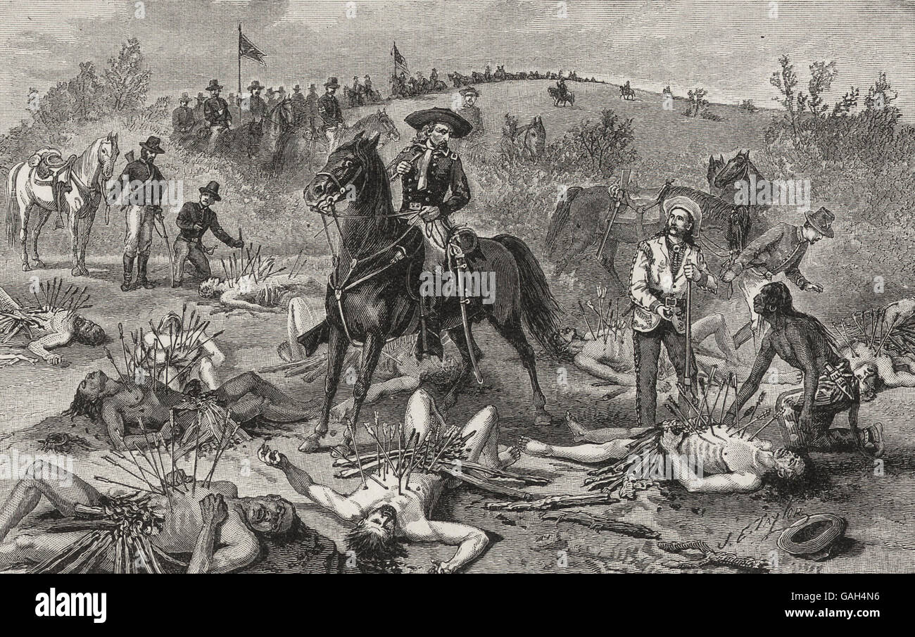 The fate of Lieutenant Kidder and his entire command - Discovery of their bodies by General Custer, 1870s, American - Stock Image