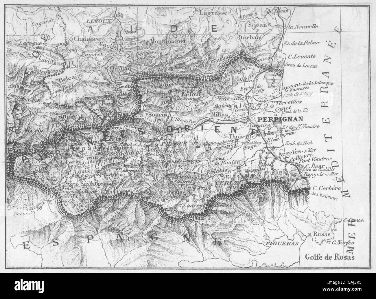 Antiques Pyrenees-orientales 1878 Old Antique Map Plan Chart PyrÉnÉes-orientales Art