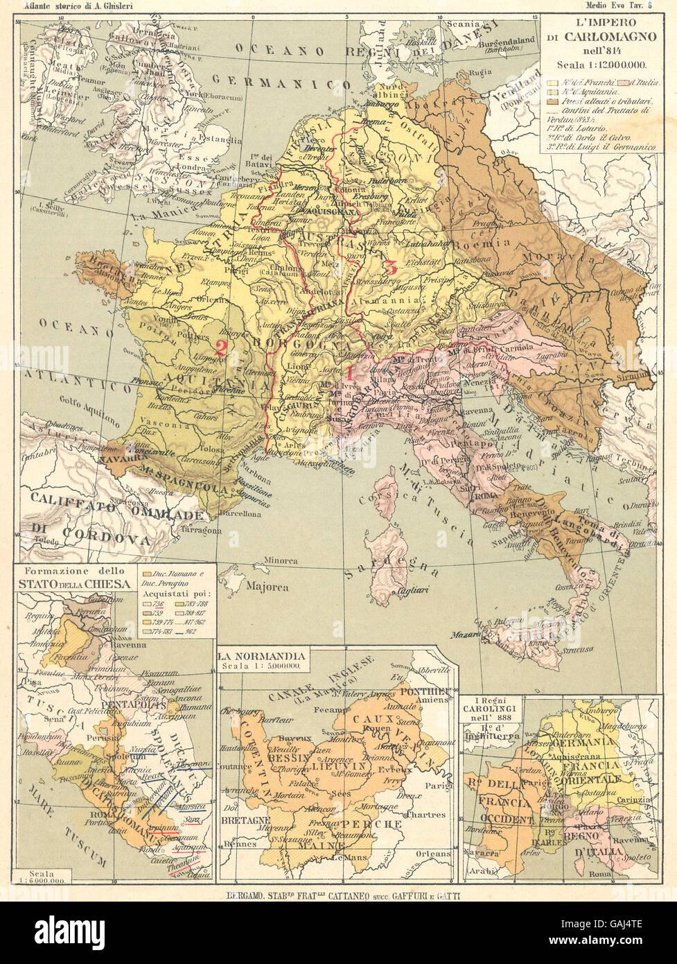 IMPERO DI CARLOMAGNO: 814 Stato Della Chiesa; Normandia; Carolingi 888, 1889 map - Stock Image