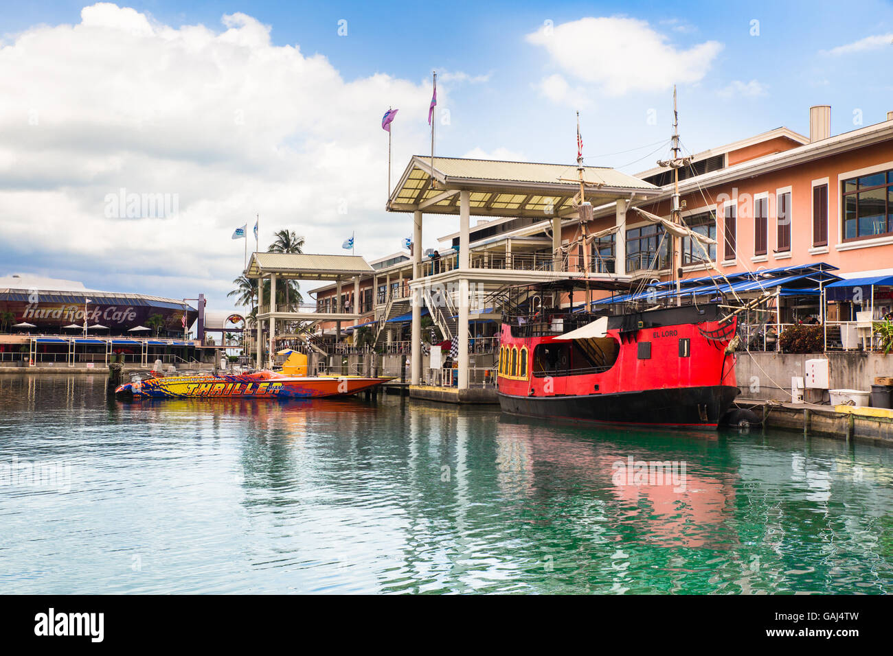View of Bayside Marketplace Mall with water and boats from Miami Florida USA - Stock Image