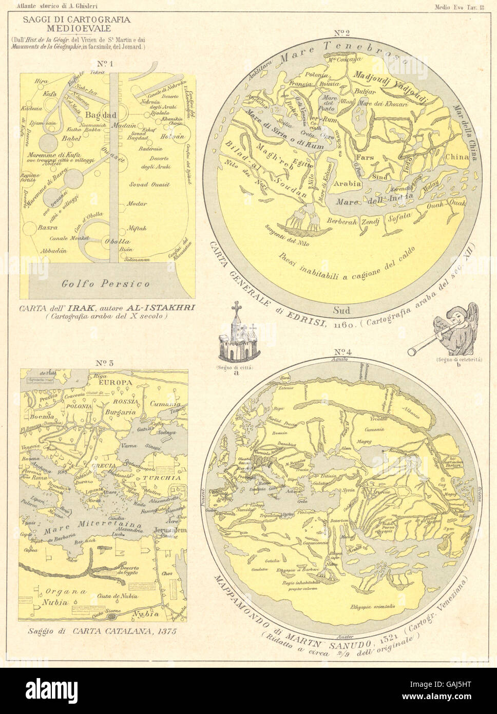 CARTOGRAFIA MEDIOEVALE: Irak Istakhri Edrisi Catalana Mappamondo Sanudo 1889 - Stock Image