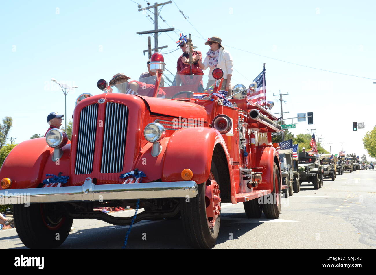 The Twin Cities Fourth of July parade has the towns of Corte Madera and Larkspur, California celebrate the holiday - Stock Image