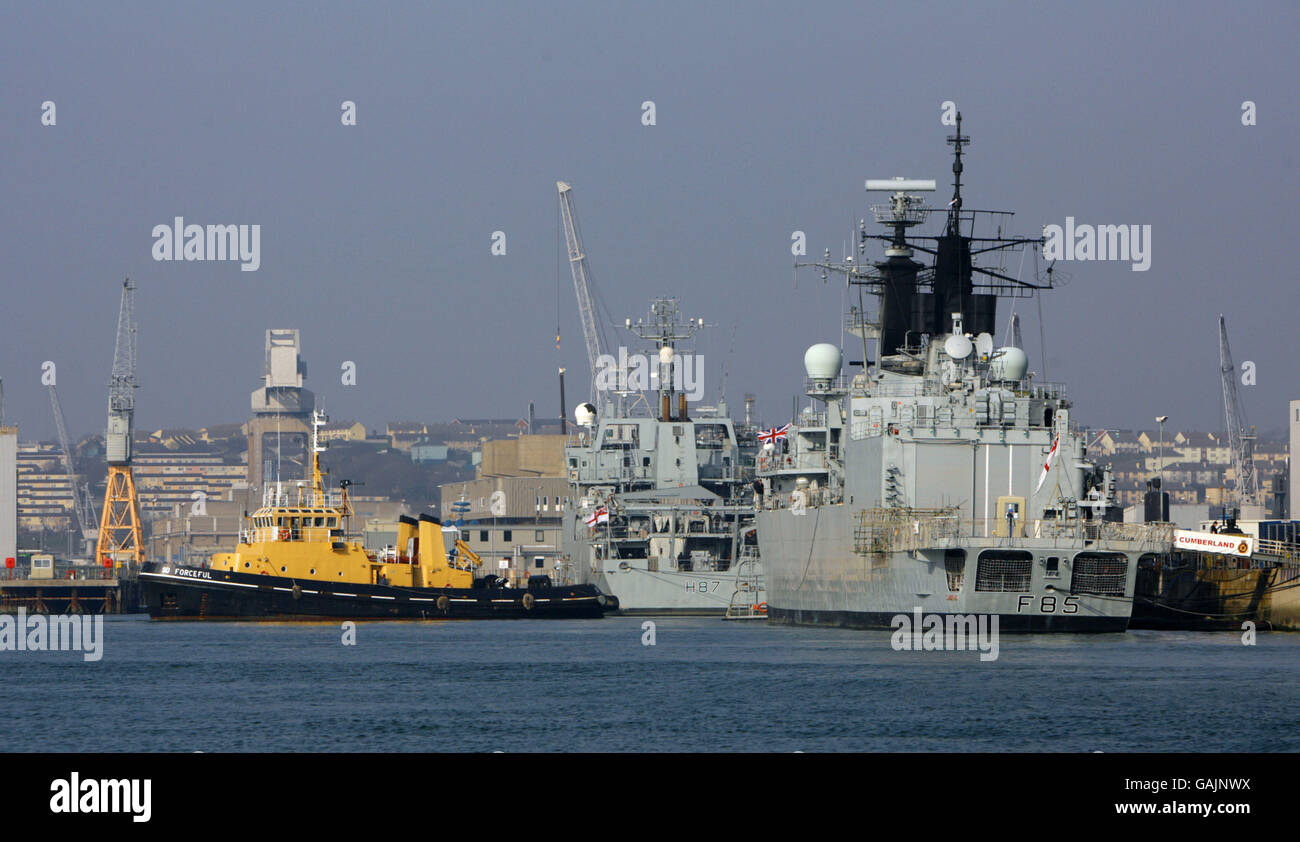 General view of the Royal Navy dockyard at Devonport in Plymouth, Devon as seen from the Torpoint ferry. Picture Stock Photo