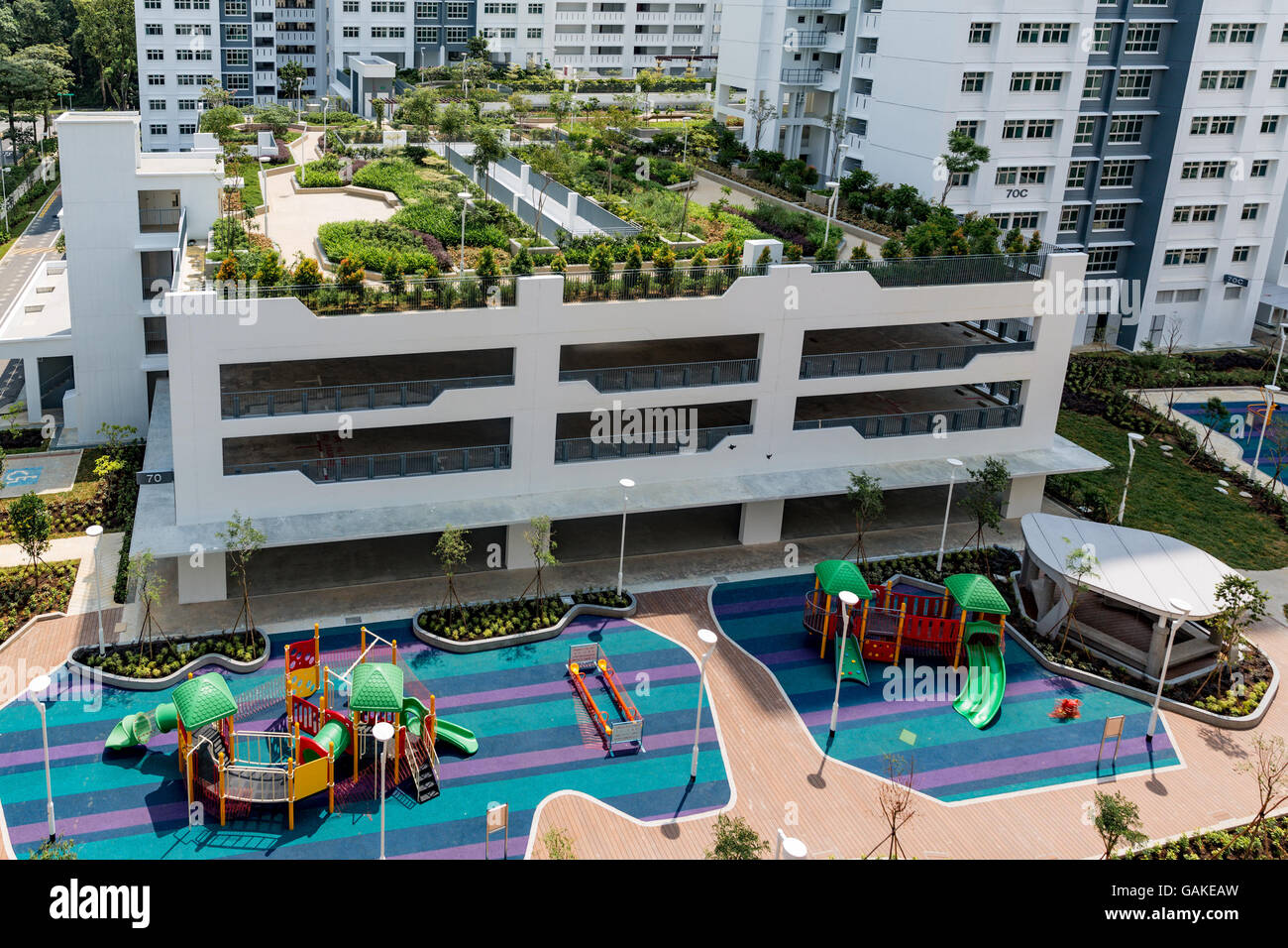 Roof Top Garden And Childrens Playground In New Singapore Public Housing Development Board