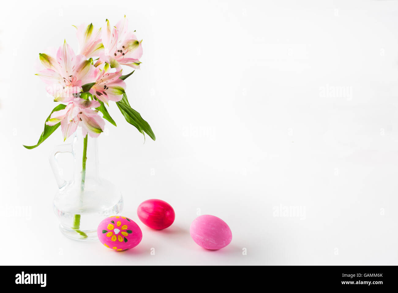 Hand Painted Pink Easter Eggs With Light Delicate Pink Flowers In A