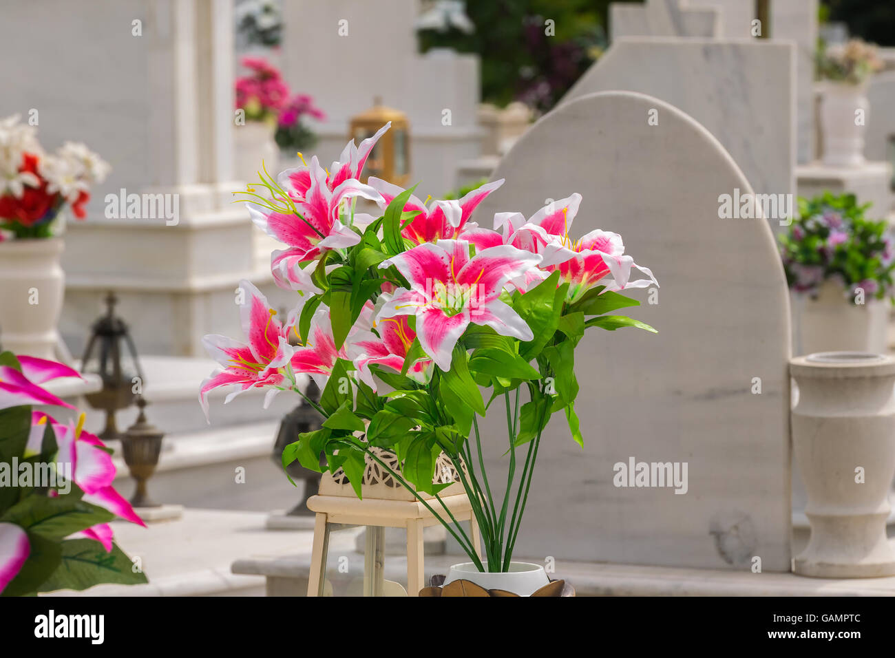 Funeral flowers stock photos funeral flowers stock images alamy beautiful flowers on a grave after a funeral stock image izmirmasajfo