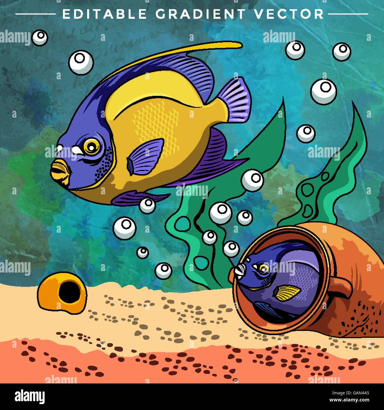 Colorful Aquarium Fishes Stock Vector