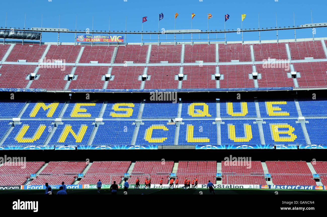 Soccer - Manchester United Training & Press Conference - Barcelona - Stock Image