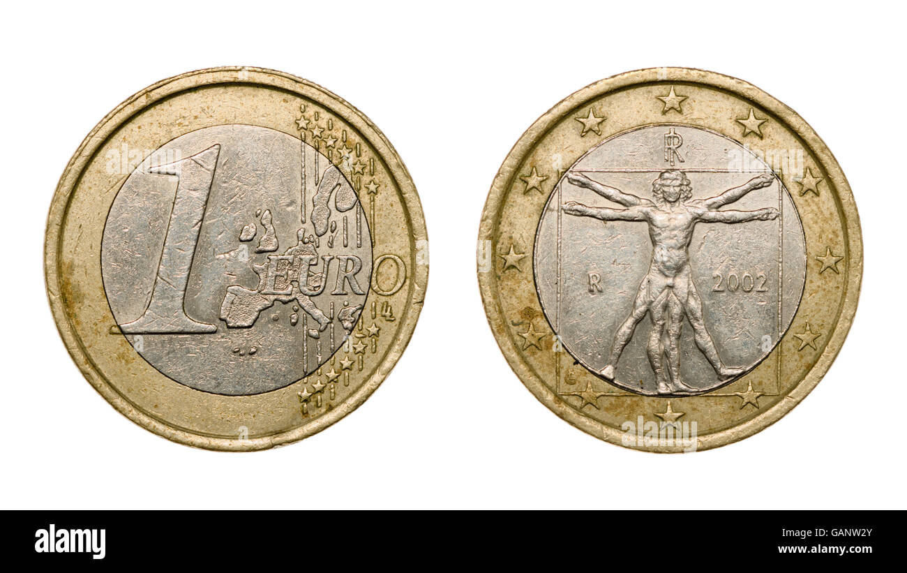 One euro coin isolated on white background with clipping path - Stock Image