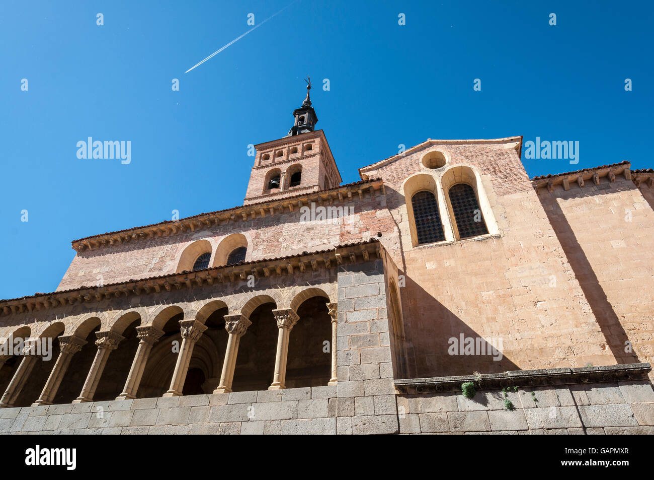 Views of the Church of San Martin, Segovia, Spain. It was built in the 12th century, Mozarab in origin and Romanesque - Stock Image