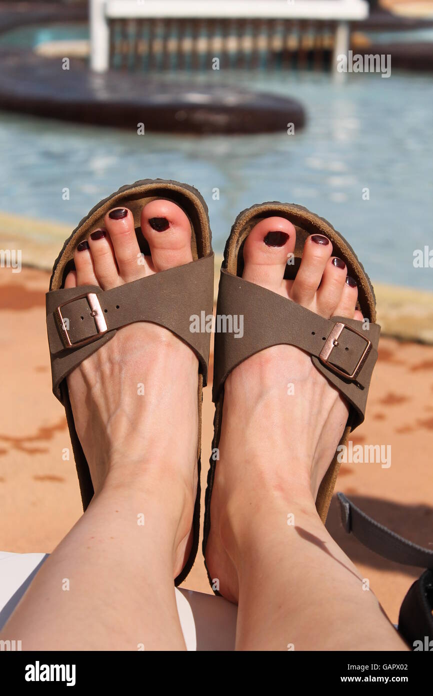 9f7358503 Painted Toes Sandals Stock Photos   Painted Toes Sandals Stock ...