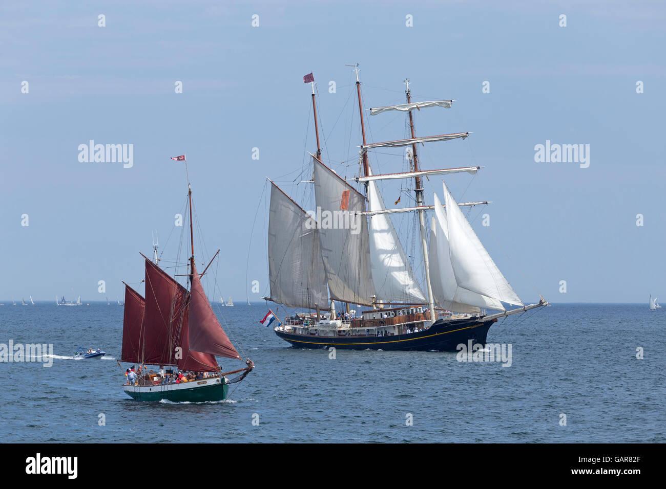 sailing ships ´Gulden Leeuw´ and ´Sampo´, Kiel Week, Kiel, Schleswig-Holstein, Germany - Stock Image